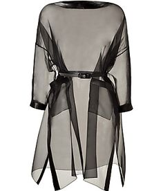 Valentino Black Silk Organza Belted Dress with Leather Trim...it would look amazing layered over a leather sheat dress.