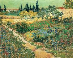 Garden with Flowers, 1888 by Vincent van Gogh. Post-Impressionism. landscape. Haags Gemeentemuseum, Hague, Netherlands