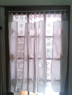 Pair Linen Lace Crochet Curtains French Vintage Handmade. Very cottage chic pair of French vintage ivory linen and crochet curtains. Perfect