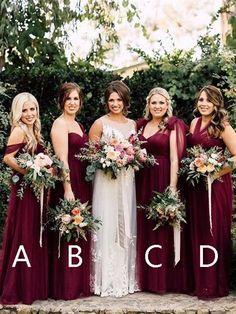 6b3b71dccd3 Pretty Burgundy Halter   Off the Shoulder   One Shoulder Long Bridesmaid  Dresses