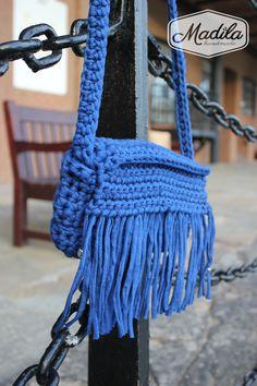 Blue handbag Madila #Handmade #Crochet #Bags #Zpagetti #Yarn #Trapillo…