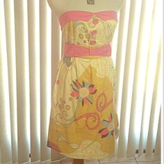 Vintage Style Sun Dress Beautiful vintage style yellow cotton sundress with splashes of pink and other colors throughout. Stretch bodice. Attached belt. Strapless.  EUC. GORGEOUS (A) Fashion Spy Dresses Strapless