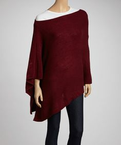 Take a look at this Burgundy Sunday Brunch Poncho by Elle Tian on #zulily today! $225 !!