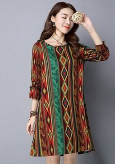 Buy Bohemian Graphic Shift Dress | mysallyfashion.com Malaysia