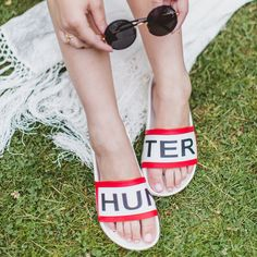 Wish Wish Wish is ready for the summer festival season in her Hunter Original Slides.