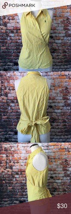 Ralph Lauren striped blouse New with tags Ralph Lauren blouse, yellow color with blue stripes. 100% cotton. Machine wash. Reasonable offers are welcome and will be accepted immediately, no trades!              IL47 Ralph Lauren Tops Blouses