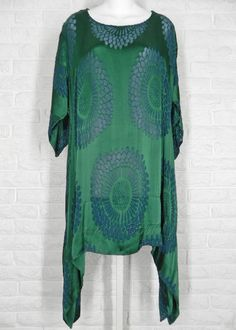 GRIZAS Floral Tunic Sheer Burnout Rayon Silk Green Blue NWT XS S M L | Clothing, Shoes & Accessories, Women's Clothing, Tops & Blouses | eBay!
