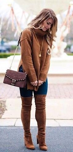 #winter #outfits  brown turtle neck long-sleeve sweater with brown boots