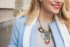 baby blue coat + Lulu Frost necklace