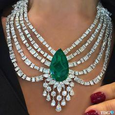 Emerald and Diamond Necklace @mahallatijewellery