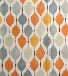 Verve - funky 50's retro abstract orange yellow grey white cotton fabric