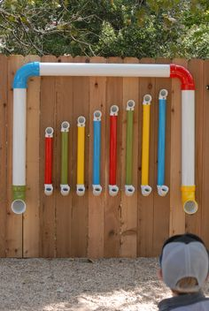 This is our Thongophone. I found a picture of one here on Pinterest and wanted to have one for our outdoor music classroom. It's beautiful and the children love it!