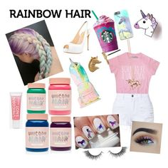 """""""UNICORNS!!!"""" by kelcyeenicole on Polyvore featuring beauty, LE3NO, Estella Bartlett, Sugarbaby, Lime Crime and Unicorn Lashes"""