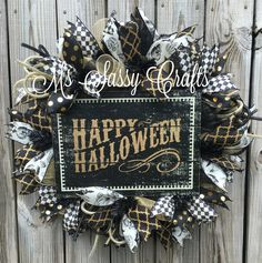 halloween wreath halloween deco mesh wreath skull wreath black and gold wreath - Halloween Deco