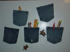 blue jean magnets                                would be great if you have metal door to leave a note or message