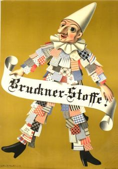 Poster by Niklaus Stoecklin, Bruckner-Stoffe! Vintage Posters, Vintage Art, Late 20th Century, Modern Graphic Design, Retro, Objects, The Originals, Fictional Characters, Image