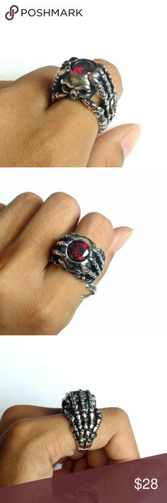 New ring stainless steel skull skeleton hand biker New biker ring  Stainless steel Gothic skull skeleton hands with a red faux gem Size about 7/7.5 Jewelry Rings