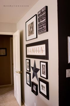 """"""" I framed several pictures of my kids and our family in black frames, some with mats, some without and included a star and a couple of signs."""""""