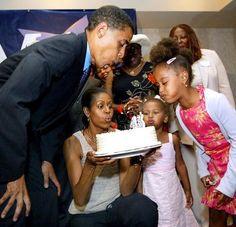 Barack Obama, Michelle Obama, with daughters Sasha and Malia in 2004