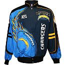 NFL San Diego Chargers Big & Tall Red Zone Jacket. Features Shell: 100% cotton Lining: 100% polyester Ribbed Cuffs and Waist: 100% polyester knit Full-snap midweight jacket Decorated with allover applied and embroidered team graphics Front slash pockets Stand-up collar Officially licensed Made in China. Price: $154.99