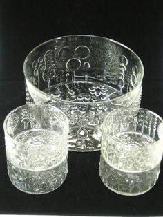 "Iittala Finland Oiva Toikka FLORA Glass Set of Bowls - 9.5"" Master Serving Salad Trifle Bowl & 4 Individual -Mid Century Modern"