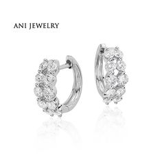 ANI 18k White Gold Women Circle Earrings 0.95 CT Certified I/S1 Natural Diamond 2 Rows Drill Hoop Circle Earrings Fine Jewelry