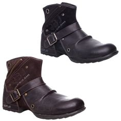MENS REPLAY LEATHER ZIP UP BIKER COWBOY BUCKLE MILITARY ANKLE BOOTS SIZE 7-12 in Clothes, Shoes & Accessories, Men's Shoes, Boots   eBay!