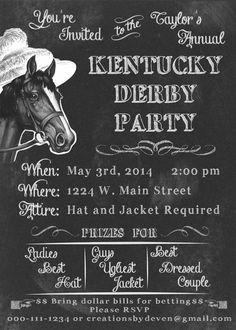 Kentucky Derby Party Invitation Chalkboard Style #kentuckyderbyparty #chalkboardinvitation