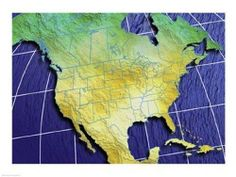 Close-up of a map of North America 24.00 x 18.00 Poster Print Print Title: Close-up of a map of North America. Print Type: Fine Art Print. Paper Size: 24 x 18 inches. Publisher: PVT/Superstock.  #The_Poster_Corp #Home