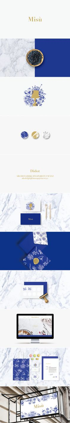Misù Bakery uses a navy blue and gold foil effect alongside floral prints to…