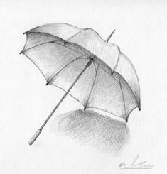 19 Umbrella Pencil Drawing Ideas - New Pencil Art Drawings, Art Drawings Sketches, Easy Drawings, Drawing Techniques Pencil, Illustration Au Crayon, Pencil Shading, Umbrella Art, Object Drawing, Still Life Drawing