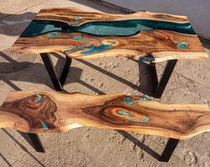 Live edge river dining table with bench and glowing resin fill in - Rustic River - Resin Wood Dining Table With Bench, Glass Dining Table, Resin Furniture, Woodworking Furniture, Custom Furniture, Trunk Furniture, Wood Resin Table, Wood Table, Rustic Table