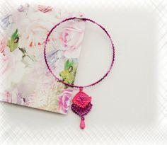 Crochet Choker  Crochet Necklace  Pink Purple by CraftsbySigita