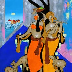 Krishna Painting, Krishna Art, Indian Artist, Top Artists, Online Painting, Disney Characters, Fictional Characters, Paintings, Handmade