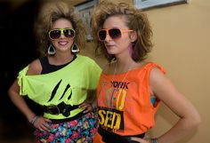 Big Hair and cut up Florescent t -shirts?
