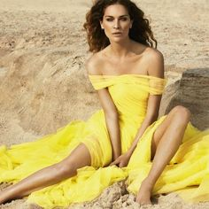 @ErinWasson in bright yellow off the shoulder dress from the Spring '15 Ralph Lauren Collection that captures the season's cinematic inspirations - inside Harper's Bazaar Russia