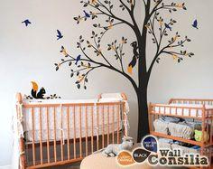 Tree Wall Decal -  Nursery Wall Decoration - Tree Wall Sticker - Corner Tree decal - Set of Two trees - KC026 $110.00