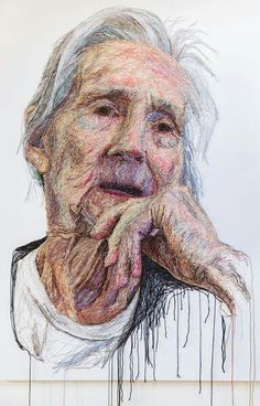 'The Dementia Darnings', portrait series started in 2011 by artist Jenni Dutton, daughter/ carer for her mother Portrait Embroidery, Embroidery Art, Thread Painting, Thread Art, Portrait Art, Portraits, A Level Art, Gcse Art, Textile Artists