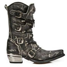 NEWROCK New Rock 7993-C3 Black Leather Cowboy Biker Boots DISTRESSED NEW COLOR (Mens UK 10 / EU 44)