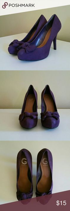Guess heels women's 10 Purple bow detail suede G by Guess heels. Lightly worn, no noticeable blemishes. Guess Shoes Heels
