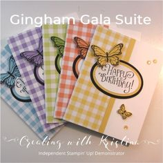 Gingham Gala 66 DSP Butterfly Gala Better Together (sentiment) Butterfly Duet punch Layering Ovals Framelits Gingham Gala Adhesive-Backed Sequin Handmade Birthday Cards, Happy Birthday Cards, Greeting Cards Handmade, Diy Handmade Cards, Butterfly Cards Handmade, Butterfly Birthday Cards, Cute Cards, Diy Cards, Stamping Up Cards
