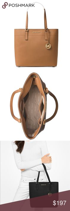 """New Michael Kors Morgan Tote in Acorn! A tote with a timeless silhouette in the very popular MK acorn color.  Rich Saffiano leather with gold tone hardware, this bag is perfect for everyday use.  It has a top zip closure with an interior zip pocket and 8 slip pockets.  Unlike many totes, this one has brass feet on the bottom which is a nice feature. 10 1/2""""L double handles. Michael Kors Bags Totes"""