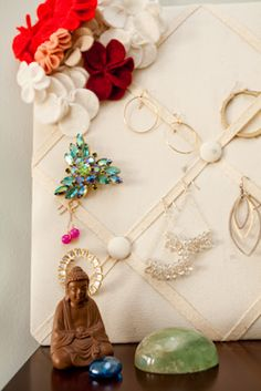 Recycle an old memo-board & use as an earring holder!