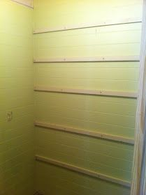 Once Upon a Cedar House: How to Install Pantry Shelves - Front hall closet here I come L Shaped Pantry, Wood Shelves, Shelving, Front Hall Closet, Cedar Homes, Pantry Laundry Room, Cedar Closet, Build A Closet, Building Furniture