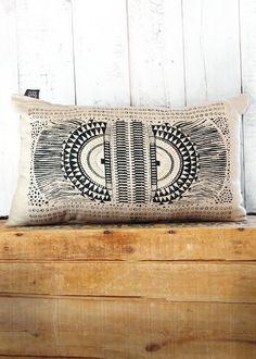 Okapi -  Black and Linen Hand Printed Native Tribal African Print Pillow - by Bark Decor. $38.00, via Etsy.