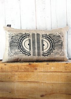 Okapi -  Black and Linen Hand Printed Native Tribal African Print Pillow - by Bark Decor. $38.00, via Etsy.