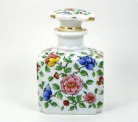 Vintage Porcelain Perfume Bottle Hand Painted Asian Style Flowers Large Size