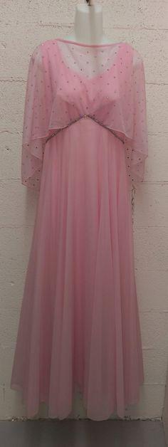 Vintage 1960s Mike Benet Pink Chiffon Rhinestone by VintroFormals