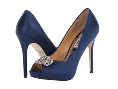 Badgley Mischka Tory Navy Satin - 6pm.com --- or if the girls' dresses are this color