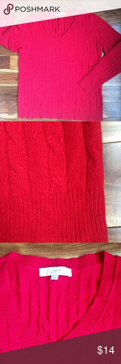 Loft Womens V-Neck Red Cable Knit Sweater XL Loft Ladies V-Neck Red Cable Knit Sweater in Size Xl and nice Condition...43% Rayon/23% wool/15% cotton/14% nylon LOFT Sweaters V-Necks